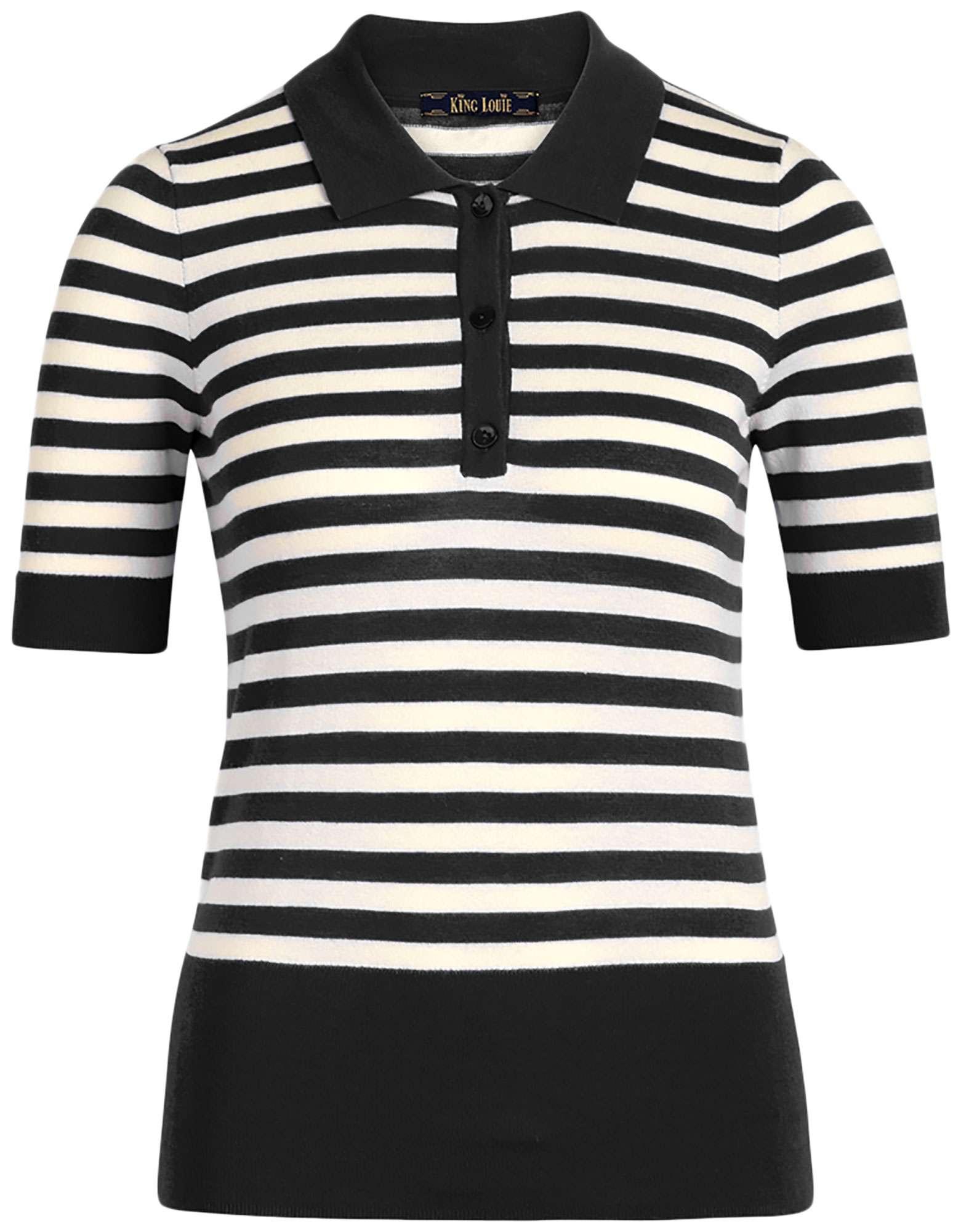 Polo top classic stripe black