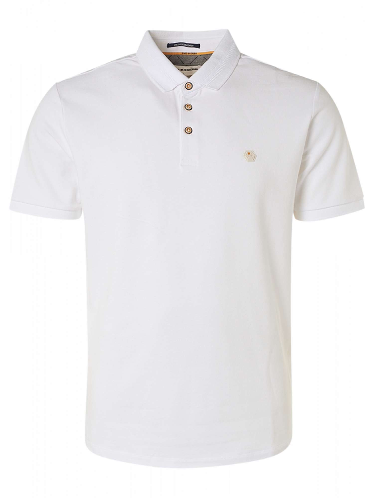 Polo pique stretch stone washed org white