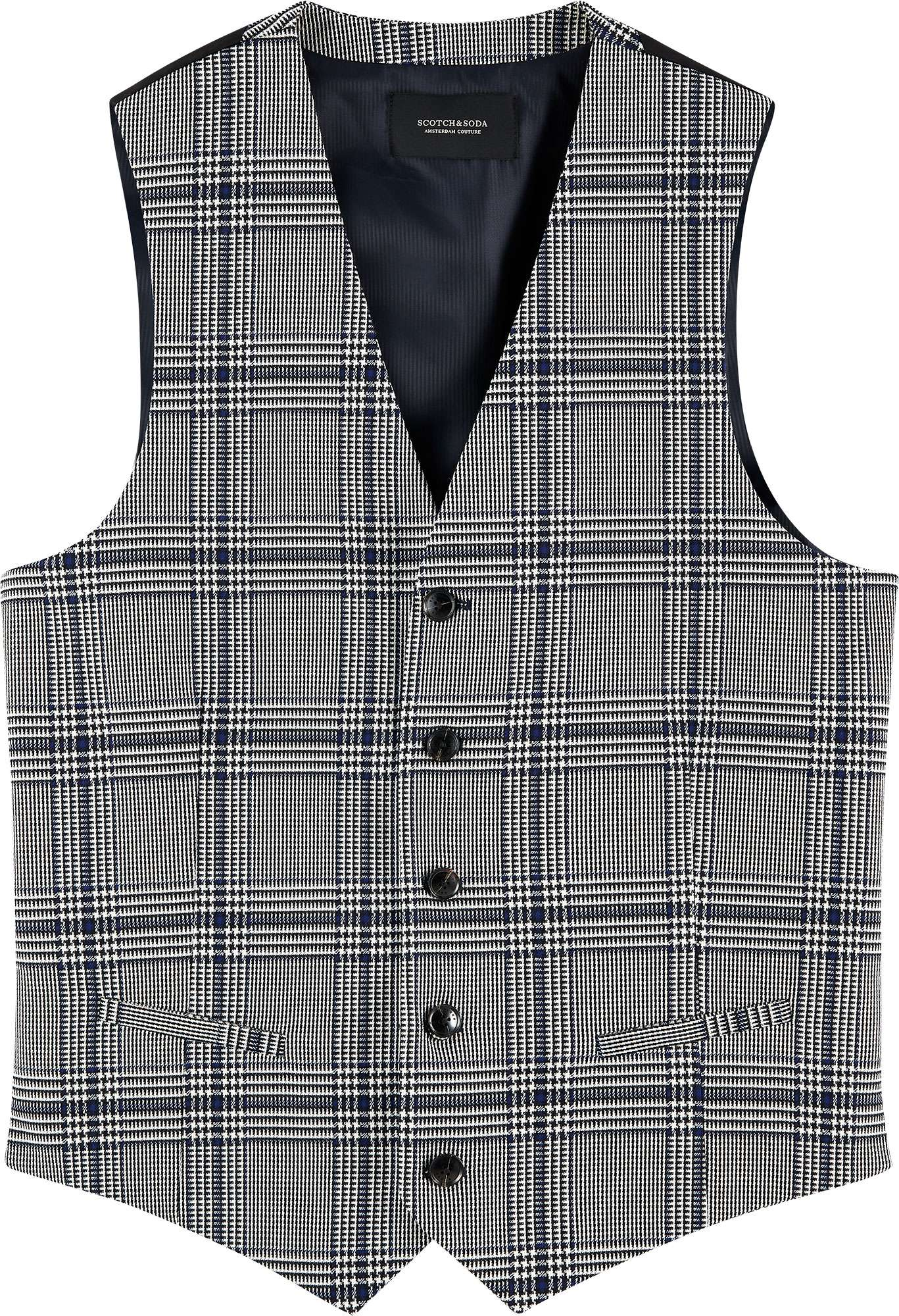 Classic structured gilet blue check