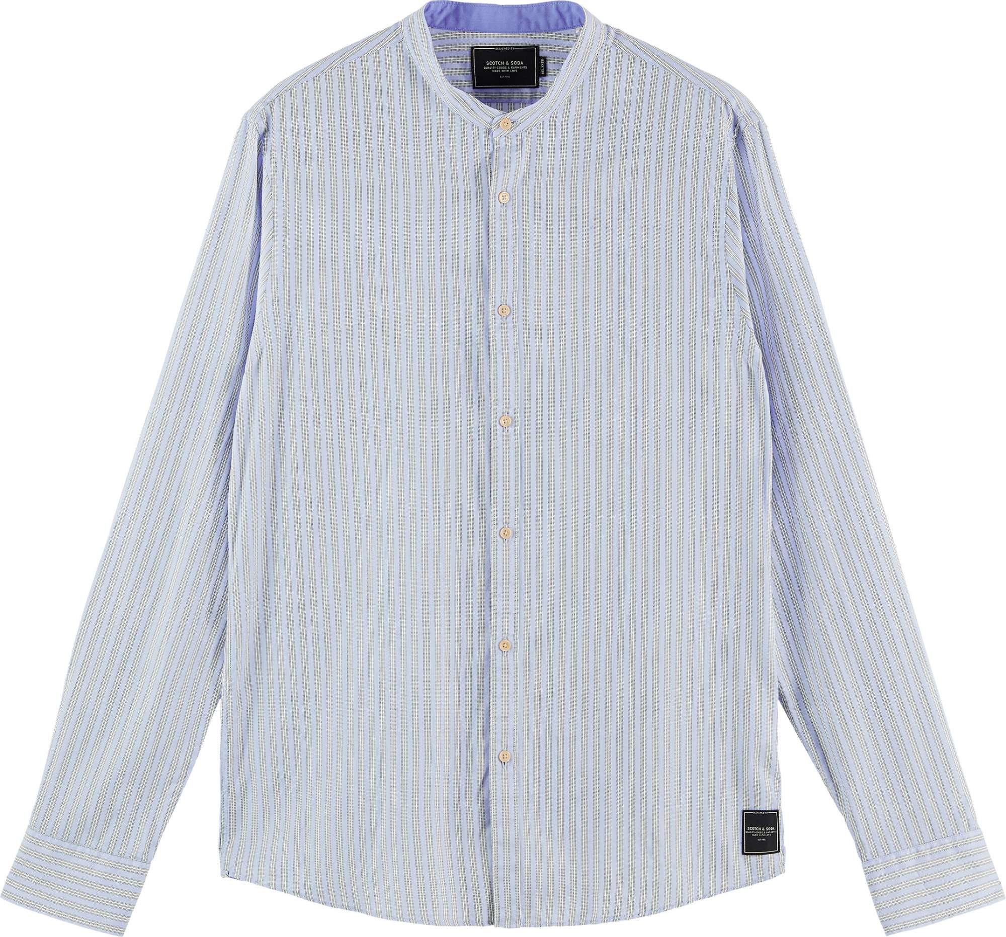Relaxed fit- collarless shirt in blue striped