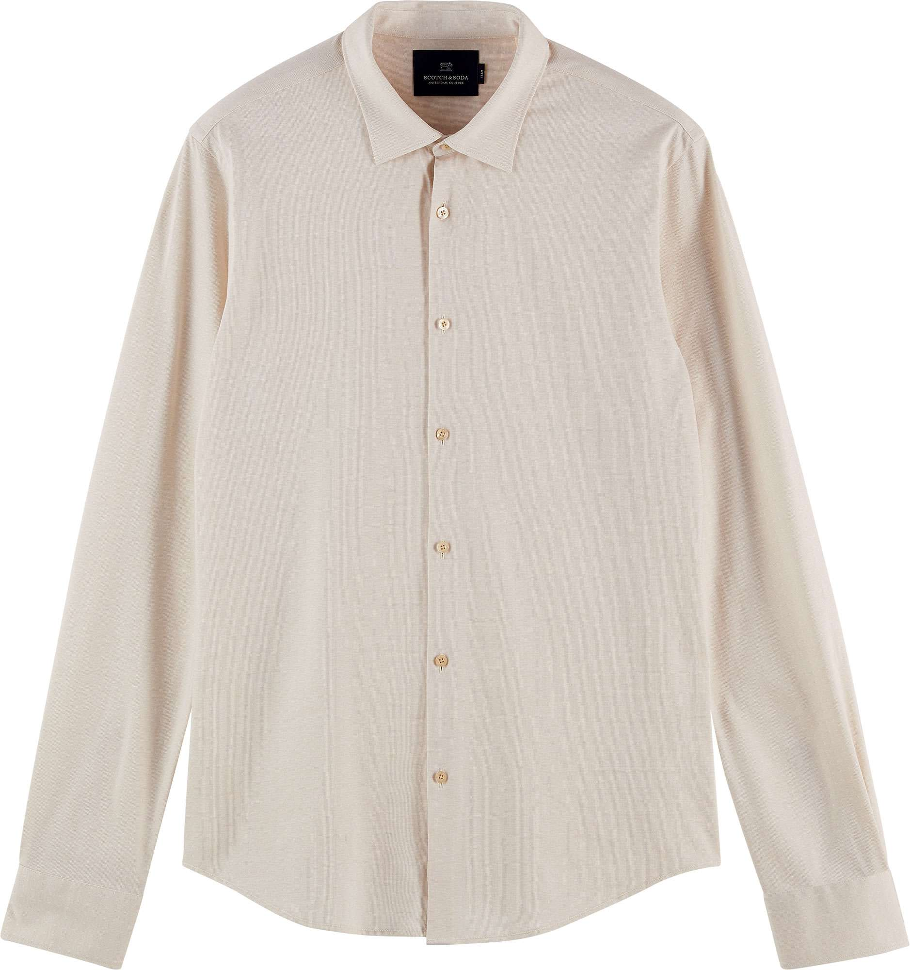 Slim fit- classic knitted shirt sand