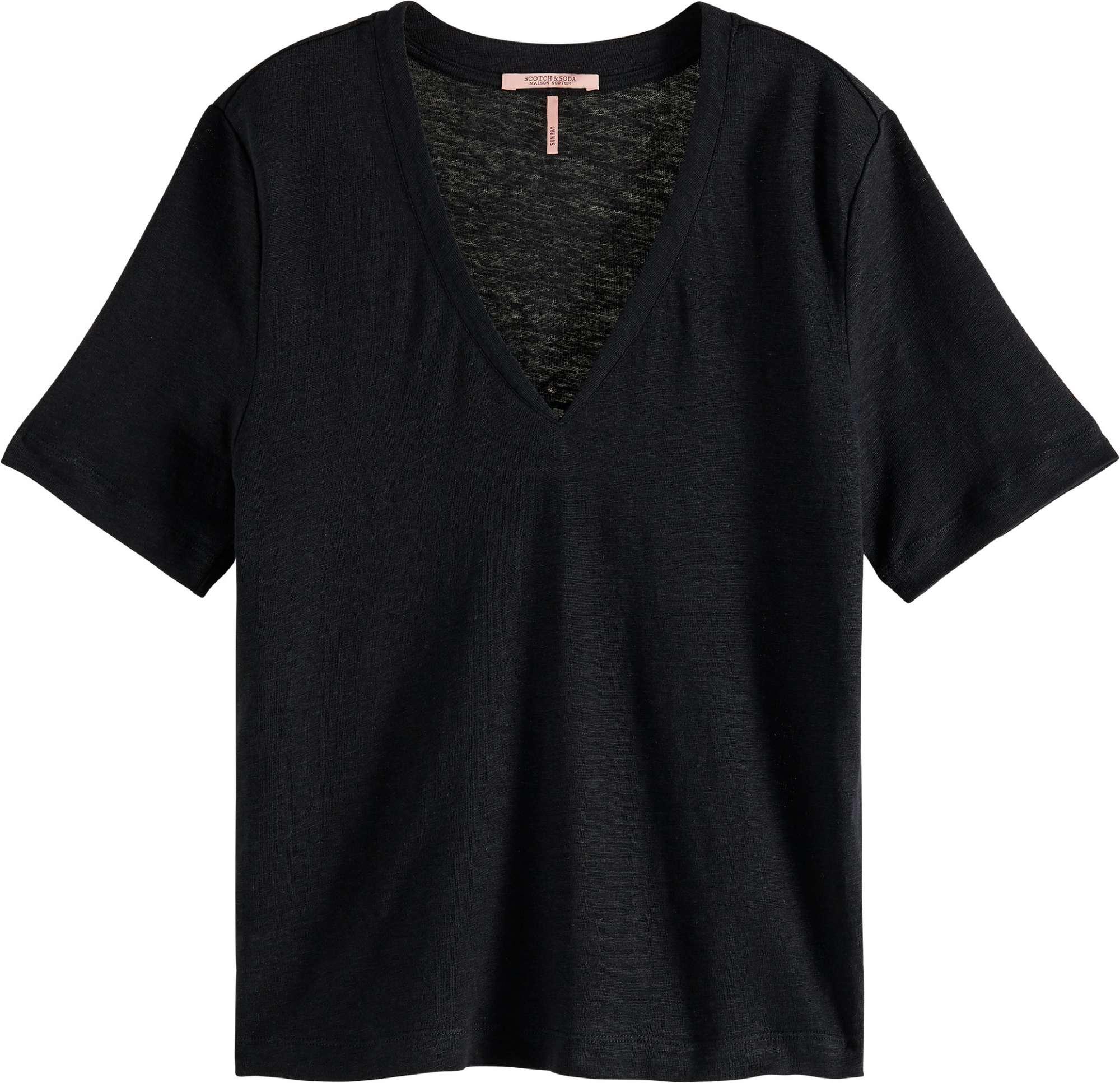 Classic linen tee with v-neckline black