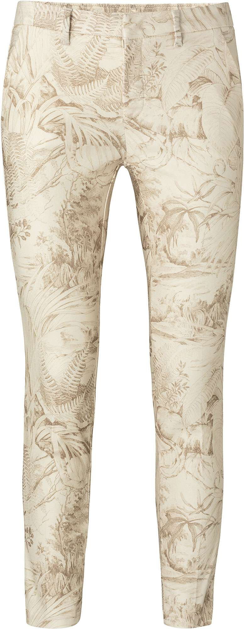 Printed stretch trousers oat dessin