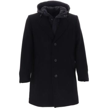 Coat with hood detachable of nylon black 9000