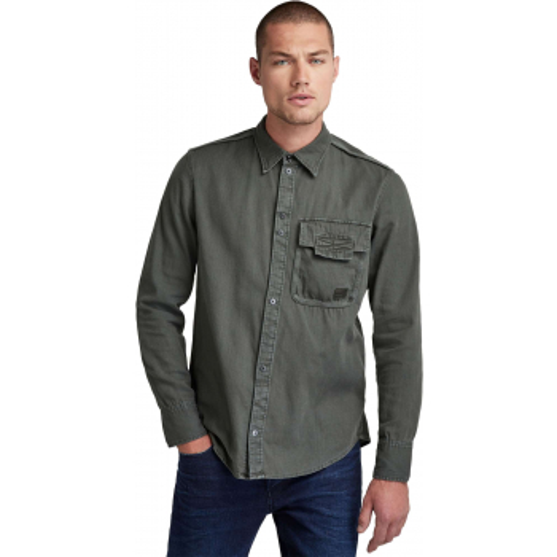 Bound pkt slim shirt l\s graphite grey