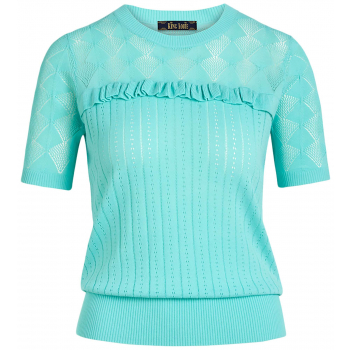 Ruffle top moonstone emerald blue