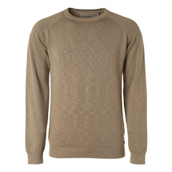 Pullover crewneck garment dyed with khaki