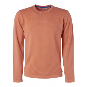 Pullover, r-neck, stone washed rib peach