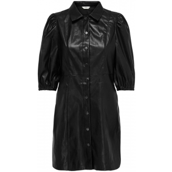 Rilla puff faux leather dress black