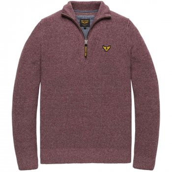 Half zip collar cotton knit catawba grape