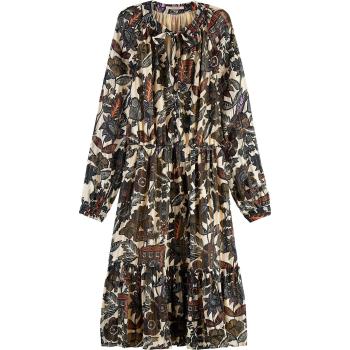 Midi dress in drapey jacquard stripe