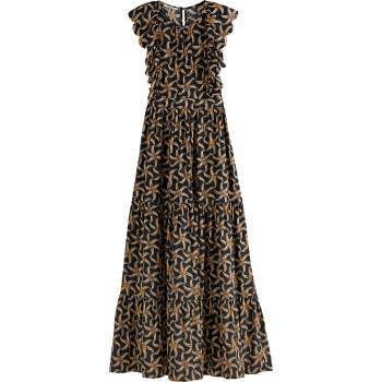 Drapey maxi length dress with scall black
