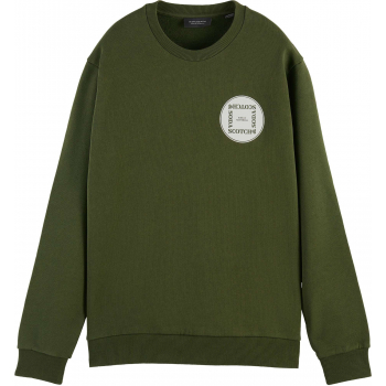 Crew neck sweat with chest artwork military green