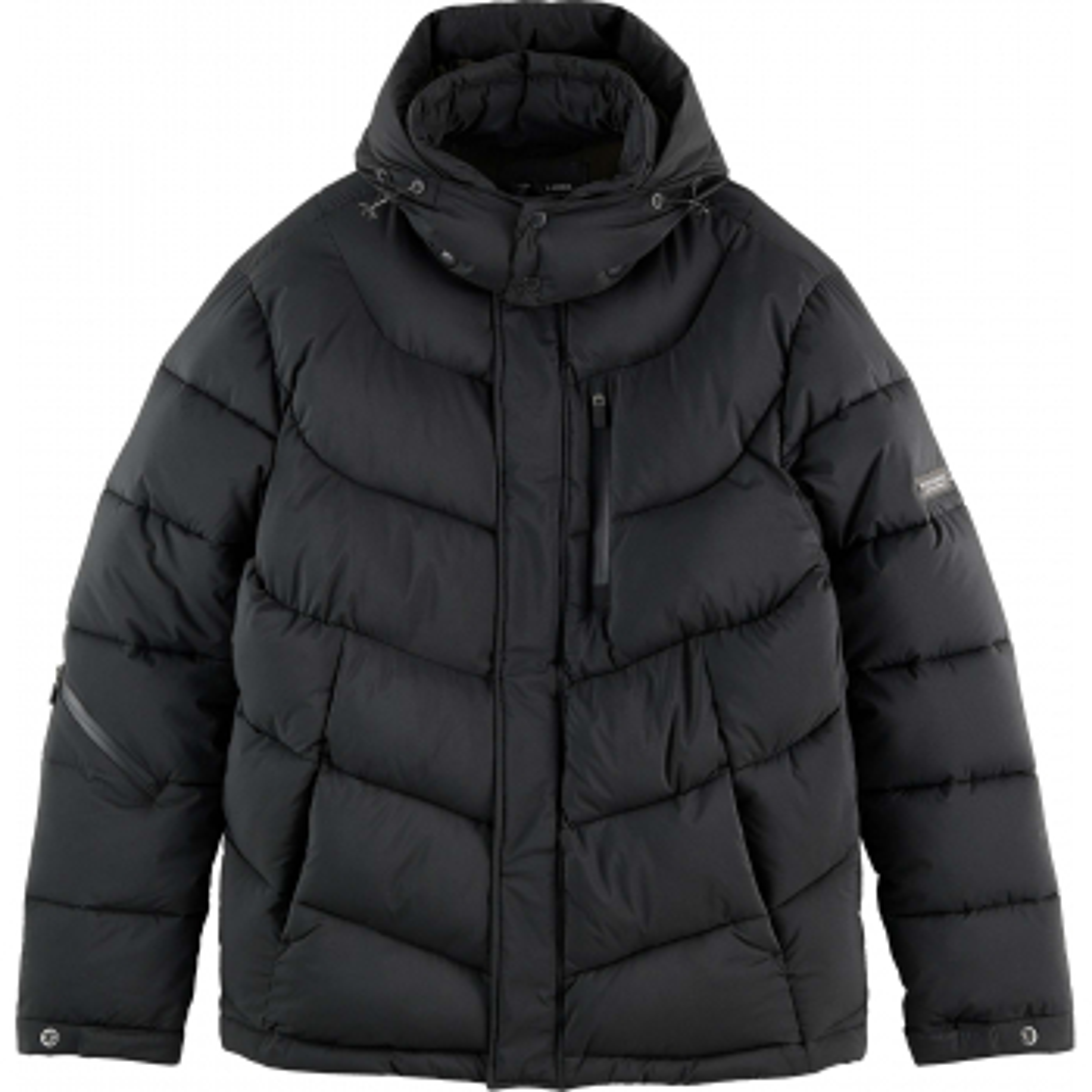 Hooded water-repellent puffer jacke black