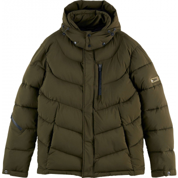 Hooded water-repellent puffer jacke utility green
