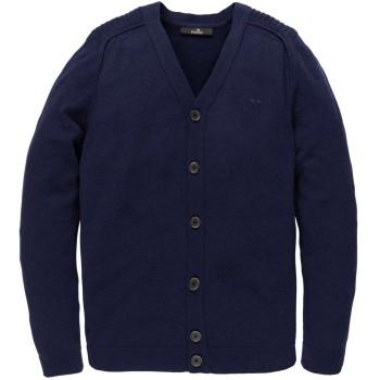 Button jacket merino blend maritime blue
