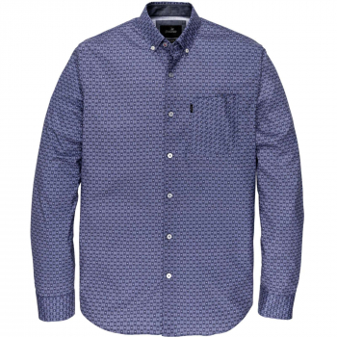 Long sleeve shirt print on poplin medieval blue
