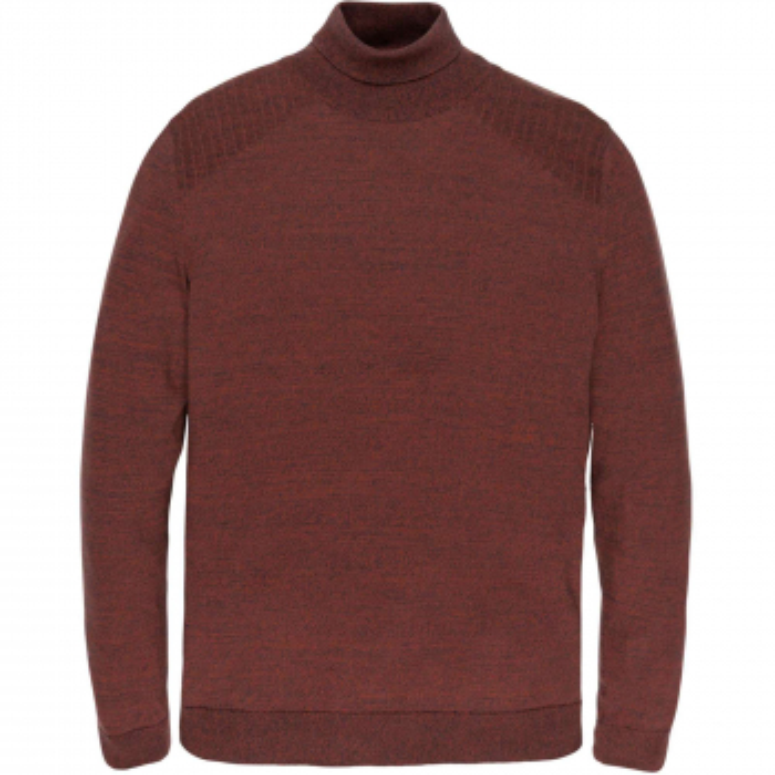 Turtleneck cotton 2 tone mouline red ochre