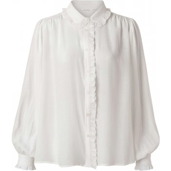 Blouse with ruffled edges pure white