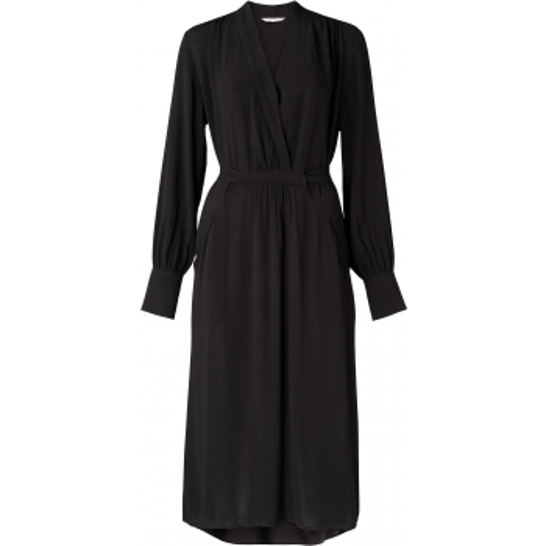 Woven v-neck dress with belt black