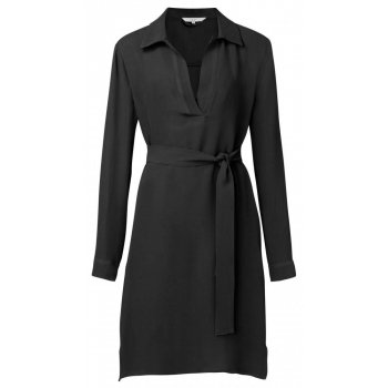 Belted midi dress with pockets black