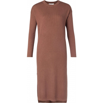 Wool blend rib sweater dress cacao brown