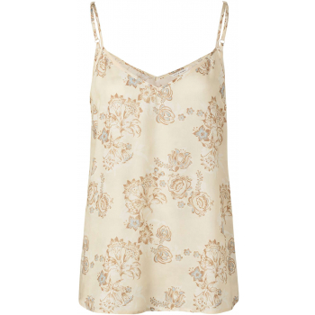 Strappy top printed brown rice soft sand