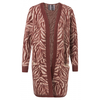 Long knitted jacquard cardigan pink sand dessin