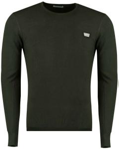 Sweater round collar&plaquette green 4050