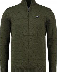 Knit pull with zipper antra green