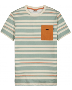 T-shirt stripes pocket pearled ivory