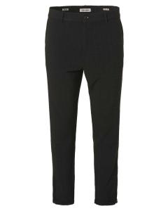 Pants check stretch zip bottom black
