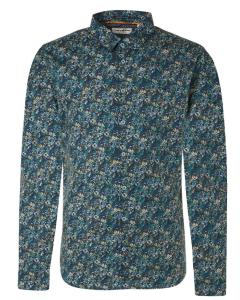 Shirt all over printed stretch indigo blue