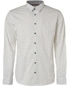 Shirt, l/sl, allover printed, stret ocre