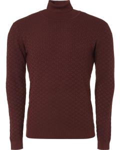 Pullover, r-neck, plated jacquard k brick