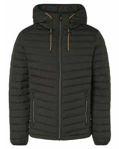 Jacket short fit hooded padded moss