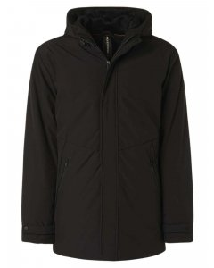 Jacket long fit hooded parka shoft black