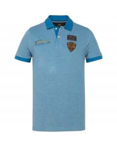 Short sleeve polo two tone pique imperial blue