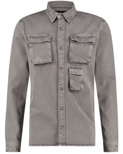 Heavy denim overshirt grey pl