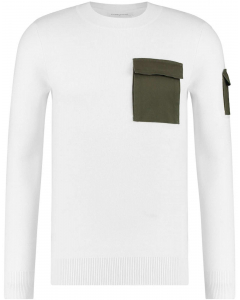 Slimfit fine knit pull off white