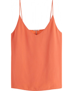 Jersey tanktop with woven front pan salmon