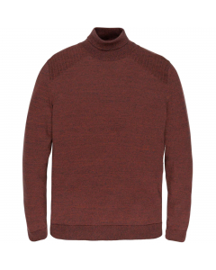 Turtleneck cotton 2 tone mouline red ochre