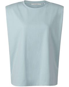 Jersey padded shoulder top celestial mid blue