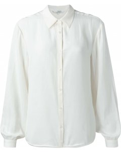 Satin shirt with puff sleeves wool white