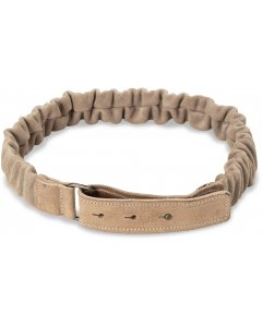 Suede belt with ruffles sand