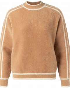 Fluffy sweater with contrast sand